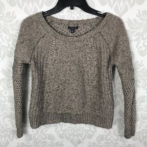 American Eagle Light Brown Knit Cropped Sweater
